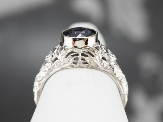 Spinel White Gold Filigree Ring, Solitaire Ring, … - image 8