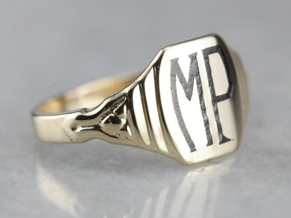 Antique Enamel Signet Ring, MP Initial Ring, Unise