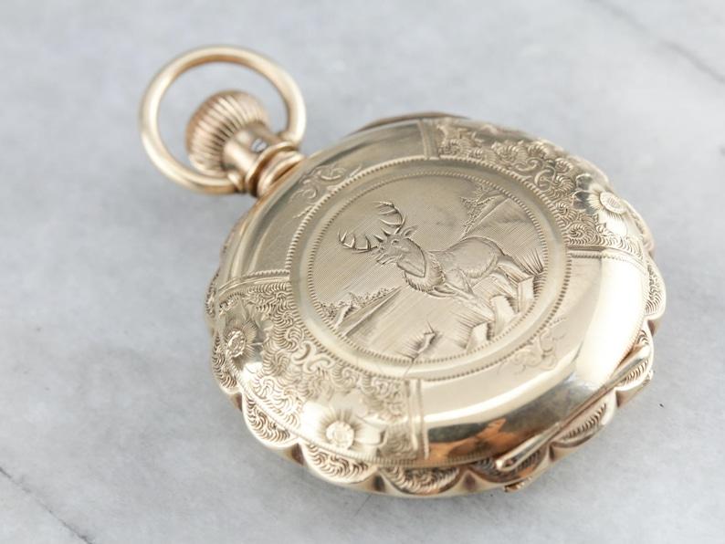 Engraved Stag Gold Pocket Watch Antique Elgin Pocket Watch Etsy
