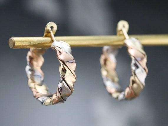 Tricolor Gold Twist Hoop Earrings, Mixed Metal Ho… - image 8
