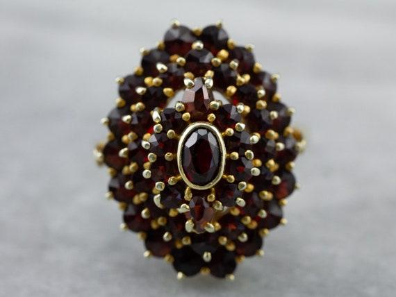 Antique Bohemian Garnet Cluster Ring, Czech Garnet