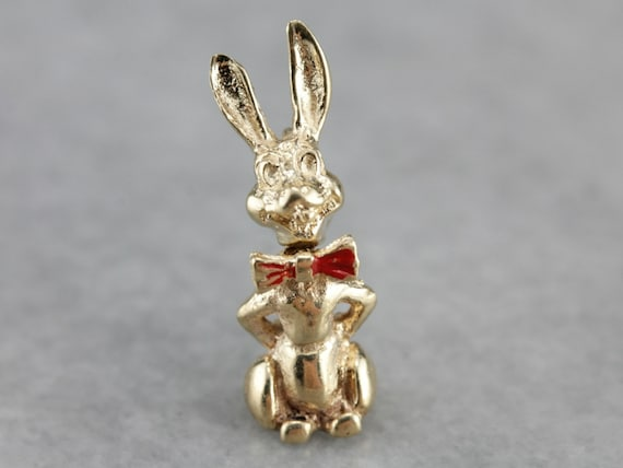 Vintage Rabbit Charm, Enamel Charm, Moving Charm,