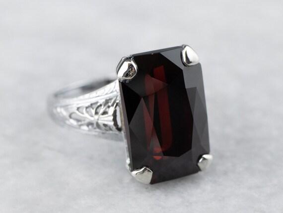Floral Filigree Garnet Ring, Garnet Solitaire Ring