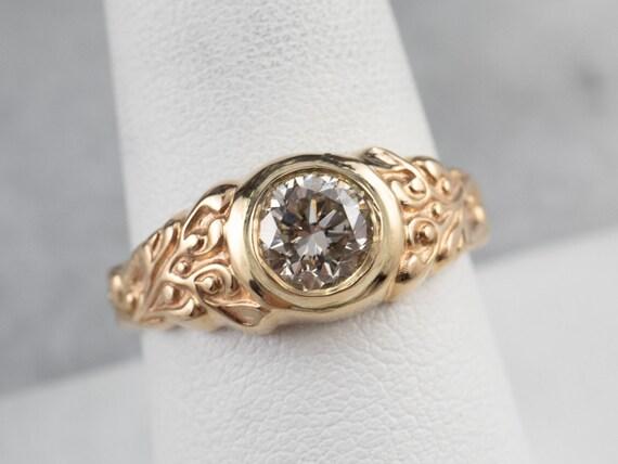 Botanical Champagne Diamond Ring, Champagne Diamo… - image 8