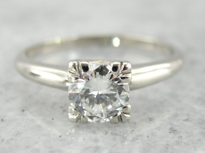 17a9c94a9b5 Vintage Diamond Engagement Ring with Solitaire Illusion Setting, Retro Era  R7Y8R2-P