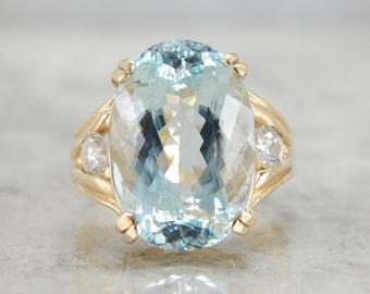 Amazing Vintage Yellow Gold Diamond and Aquamarine Ring - TZK50A-P