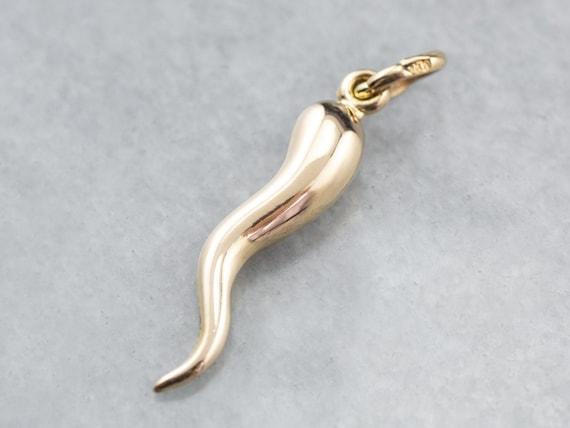 18K Gold Italian Horn Charm, Good Luck Charm, Luck