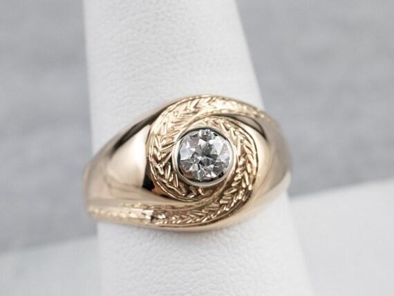 Unisex Old Mine Cut Diamond Ring, Vintage Diamond… - image 7