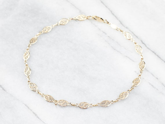 Yellow Gold Anklet, Filigree Link Ankle, Gold Ankl