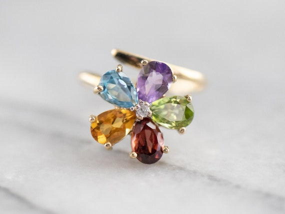 Multi Gemstone Flower Ring, Semi-Precious Gemstone