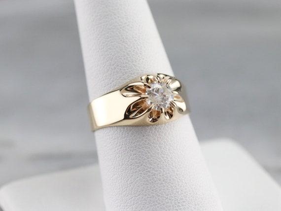 Belcher Set Diamond Ring, Unisex Diamond Solitair… - image 7