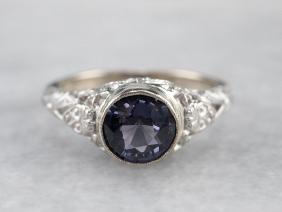 Spinel White Gold Filigree Ring, Solitaire Ring, … - image 2