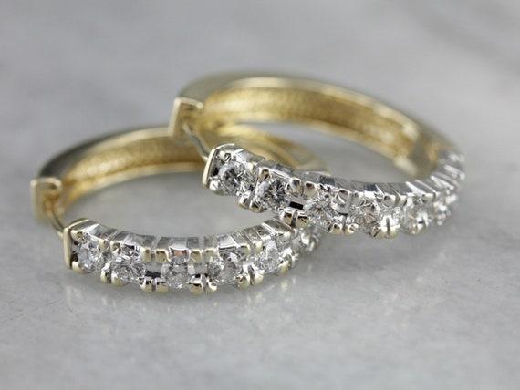 Diamond Hoop Earrings, Yellow and White Gold Hoop… - image 2