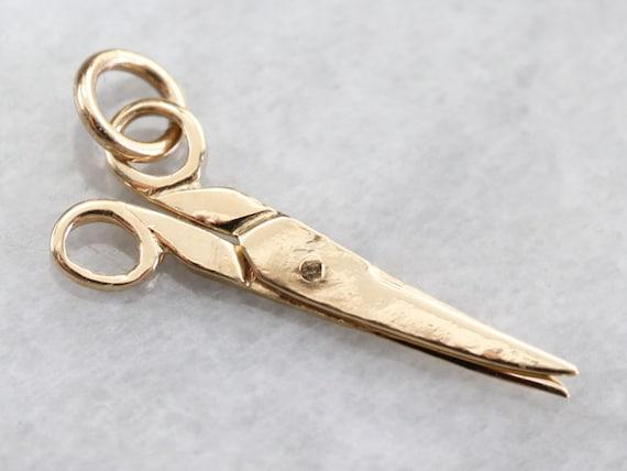 Gold Moveable Scissors Charm, Movable Scissor, Sea