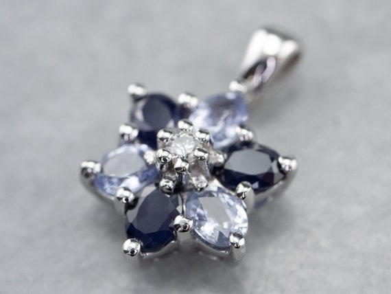 Diamond and Sapphire Halo Pendant, Floral Halo Pen