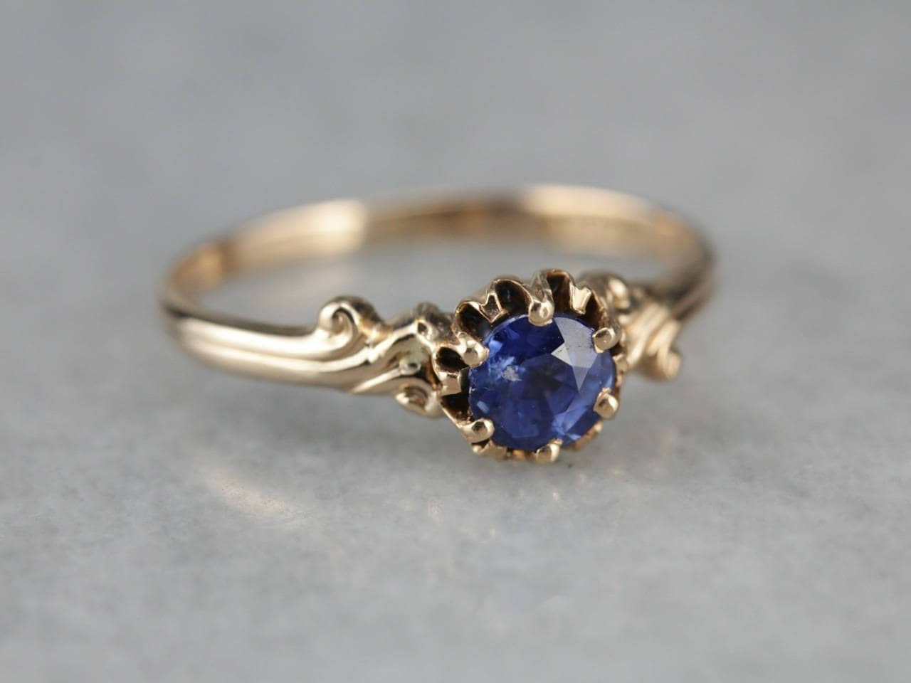 Antique Rose Gold Sapphire Solitaire Birthstone Ring