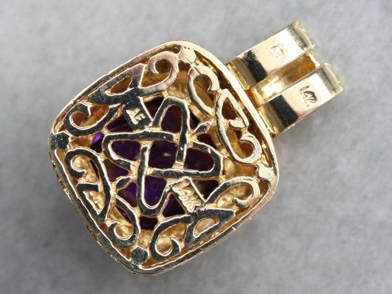 Yellow Gold Amethyst Pendant, Filigree Amethyst P… - image 5