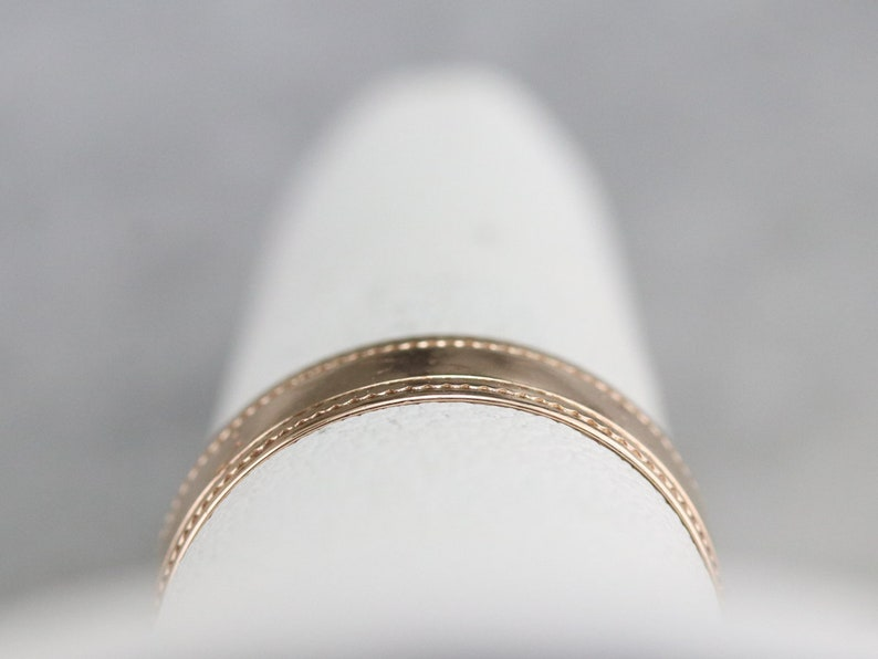 Lightly Etched Cigar Band Rose Gold Band Antique Gold Band Simple Pattern Band Estate Jewelry H41K9MZD Stacking Band Victorian Band