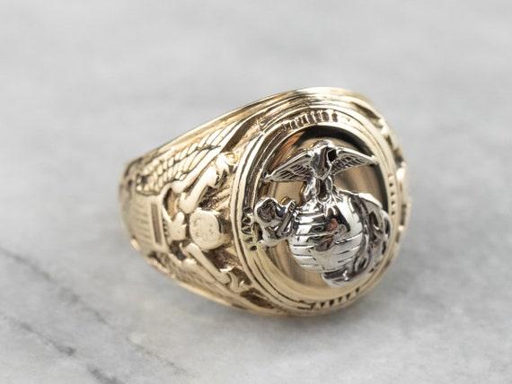 Marines Gold Men's Signet Ring, Military Signet Ri
