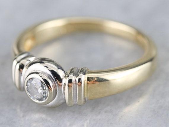 Unisex Diamond Solitaire Ring, Bezel Set Diamond … - image 4
