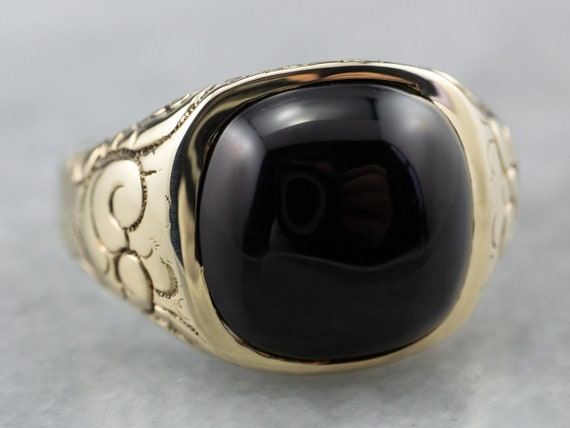 Victorian Black Onyx Gold Ring, Antique Patterned