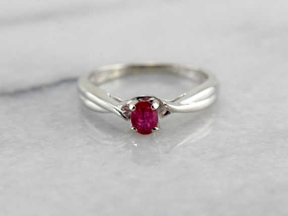 Modern Ruby Solitaire Anniversary Ring in White Go