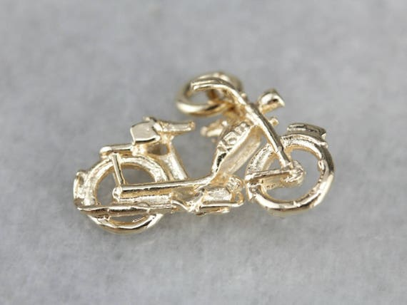 Detailed Motorcycle Charm, Gold Motorcycle, Unisex