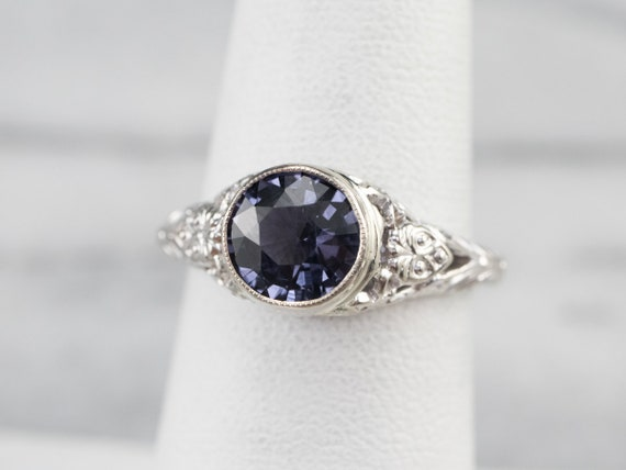 Spinel White Gold Filigree Ring, Solitaire Ring, … - image 7