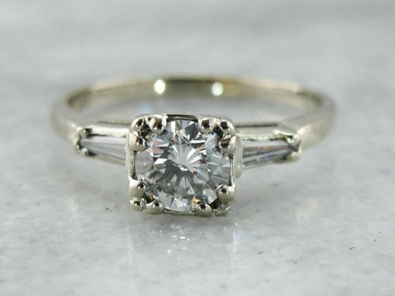 b707d2ff76d Vintage Diamond Engagement Ring, Retro Era Diamond Engagement Ring, 1950's  Diamond Ring, Vintage Engagement Ring L4UNLH-P
