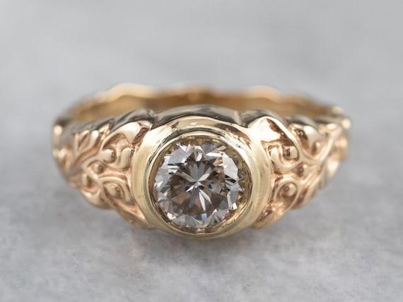Botanical Champagne Diamond Ring, Champagne Diamo… - image 1