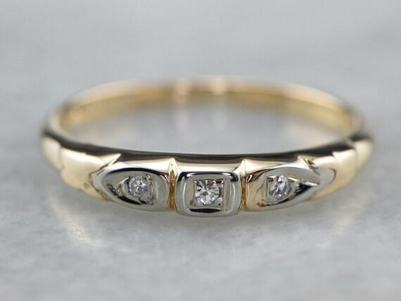 Retro Diamond Wedding Band, Two Tone Wedding Ring,