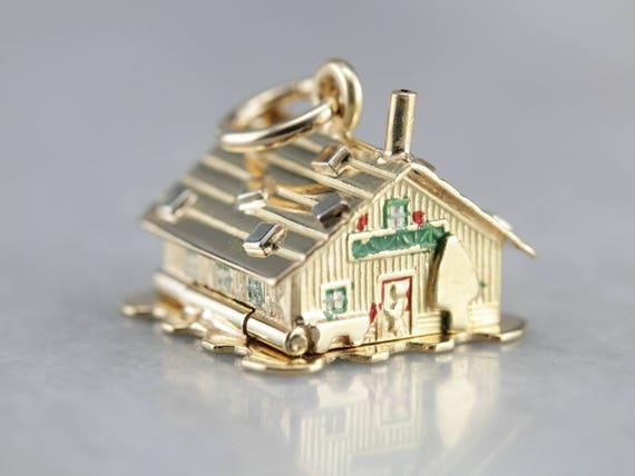 Vintage Enamel Charm, Gold House Charm, Charm Neck