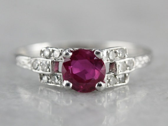 Vintage Pink Sapphire Ring, Sapphire Engagement Ring, Sapphire and Diamond,  Anniversary Ring TR87PPNR,C