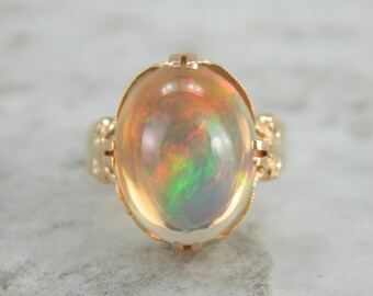 RESERVED/SOLD   Layaway   Rainbow of Fire, Victorian Opal Cocktail Ring 6QND4A-P