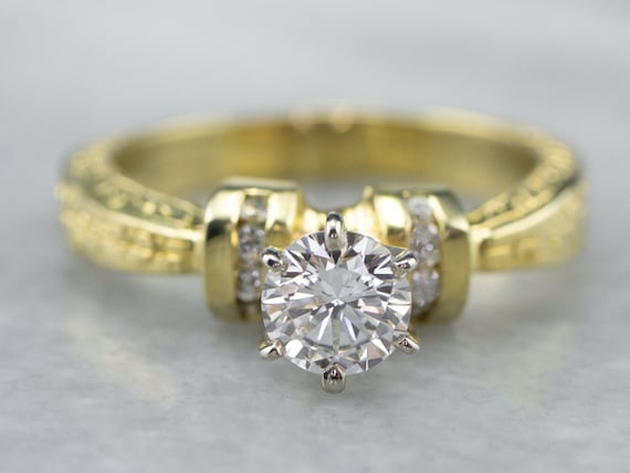 Diamond Patterned Engagement Ring, Diamond Gold Ri