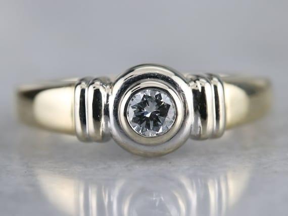 Unisex Diamond Solitaire Ring, Bezel Set Diamond … - image 2