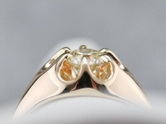 Unisex Diamond Belcher Ring, Antique Diamond Soli… - image 8
