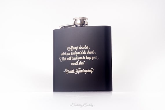 Hip Flask - Ernest Hemingway - Personalized Laser Engraved (Black)