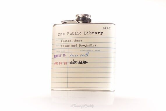 Jane Austen Public Library Card  - 6oz Hip Flask