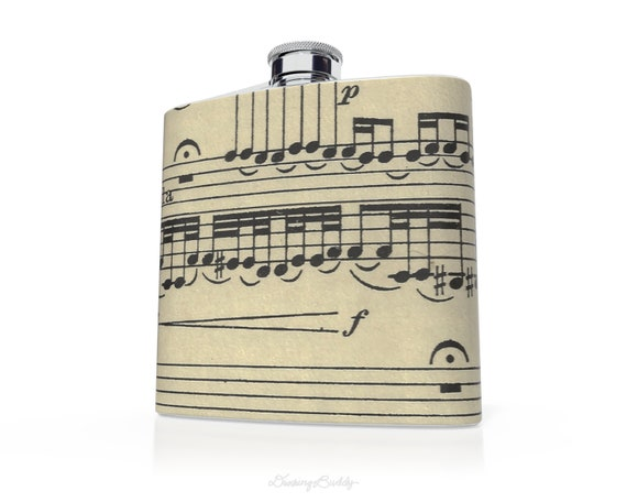 Vintage Musical Sheet Notes  - 6oz Hip Flask - Vinyl