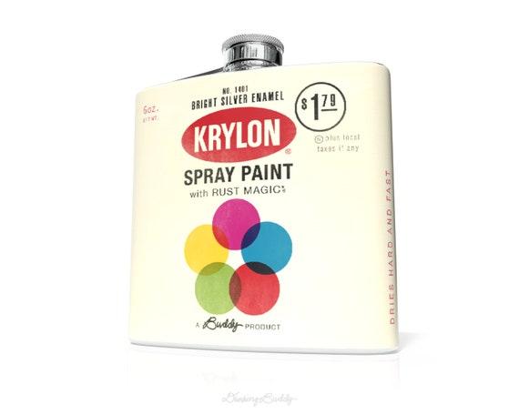 Vintage Krylon Spraycan - Whiskey Hip Flask - 6oz Vinyl