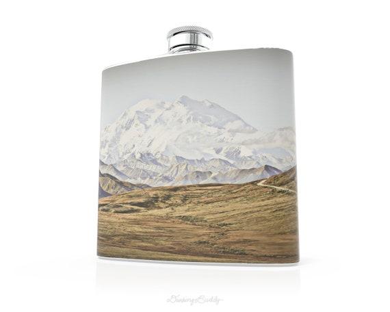 Alaskan Mountains - 6oz Whiskey Hip Flask - Vinyl