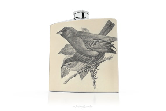 Vintage Indigo Bunting Birds- 6oz Hip Flask - Bird Theme - Vinyl