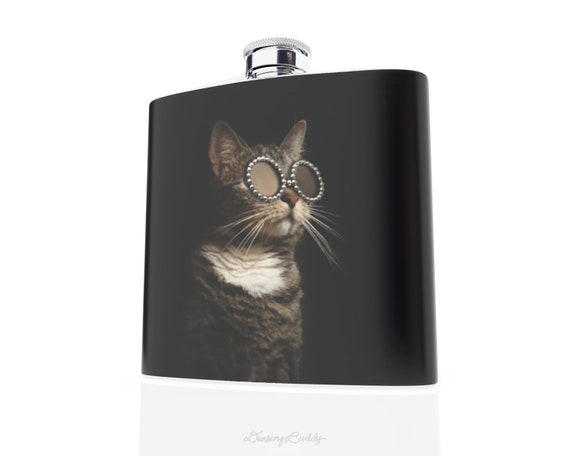 Adopt a Kitty Friend-  Stylish Shades - Sunglasses at Night - Hip Flask - Vinyl