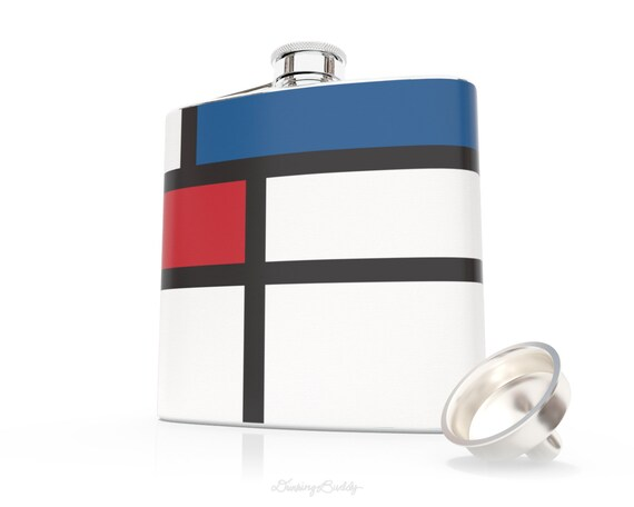 Mondrian- 6oz Liquor Hip Flask - Vinyl