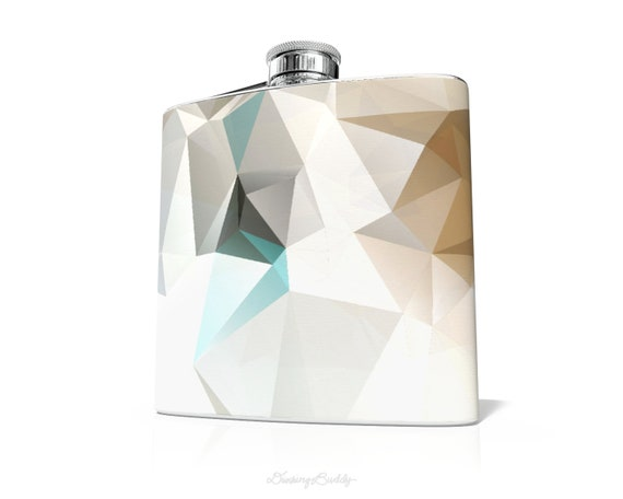 Turquoise Gold Geometric - 6oz Whiskey Hip Flask - Vinyl