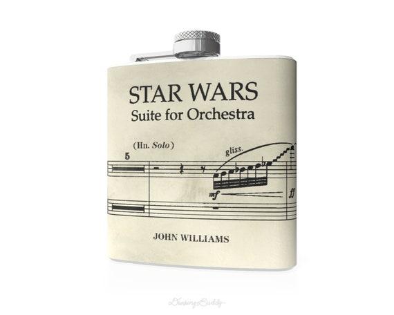 Star Wars Vintage Musical Notes John Williams  - 6oz Hip Flask - Vinyl