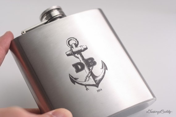 Personalized Nautical Anchor 6oz Hip Flask