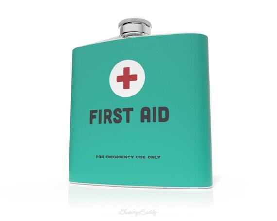 First Aid- 6oz or 8oz Liquid Hip Flask - Vinyl