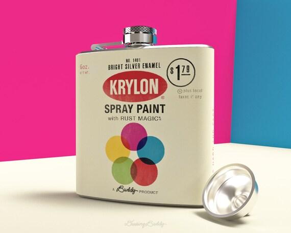 Vintage Krylon Spray Paint Can - Whiskey Hip Flask - 6oz Drinking Buddy Vinyl